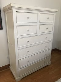 White wooden 8-drawer tallboy dresser Santa Monica, 90403