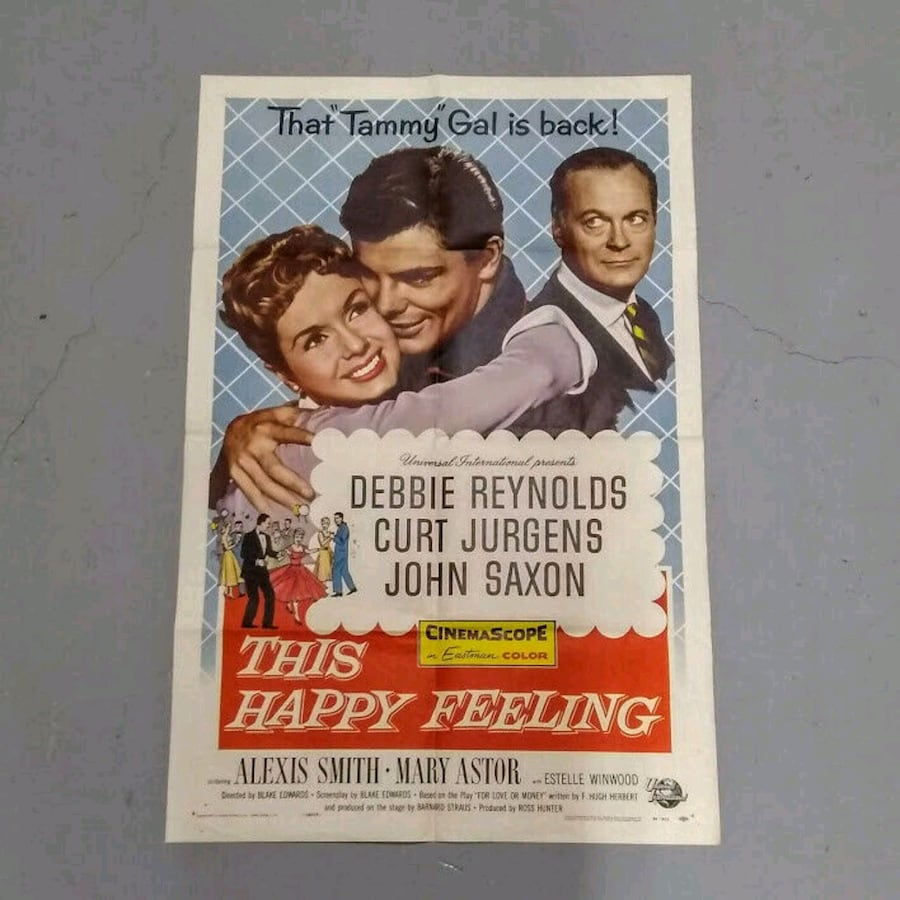 "Vintage Movie Poster ""This Happy Feeling"" 1958 Debbie Reynolds"