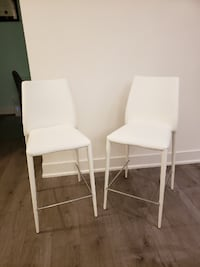 Structube Groove Bar Stool White set of 2 Markham