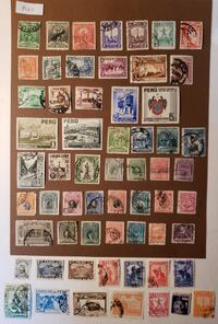 60 100-year-old stamps - lot Peru Mount Airy