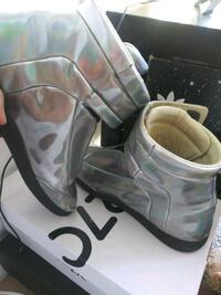 pair of gray leather open toe ankle strap heels Silver Spring, 20910