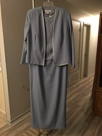 Blue-Gray formal dress with silver beading on the top and jacket.