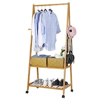 Procure SONGMICS Rolling Coat Rack, Bamboo Garment Rack, Clothes Hanging Rail with 2 Shelves 4 Hooks, for Shoes, Hats and Scarves, in the Hallway, Living Room, Guest Room You should see this - >Magnificent< - Different - SCOTTSDALE