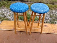 two blue-and-brown wooden stools North Fort Myers, 33917