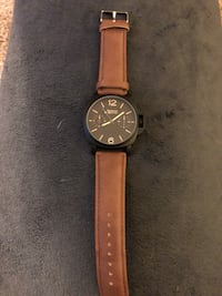 round black analog watch with brown leather strap South Fallsburg, 12733