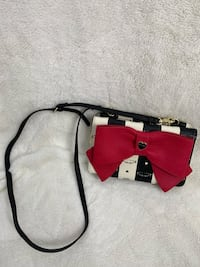 Betsy Johnson black/white with red ribbon over-shoulder purse