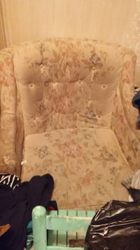 brown floral armchair