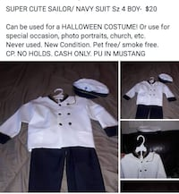 NEW NAVY/ SAILOR SUIT  SZ 4T- 6yrs  -OBO Mustang, 73064