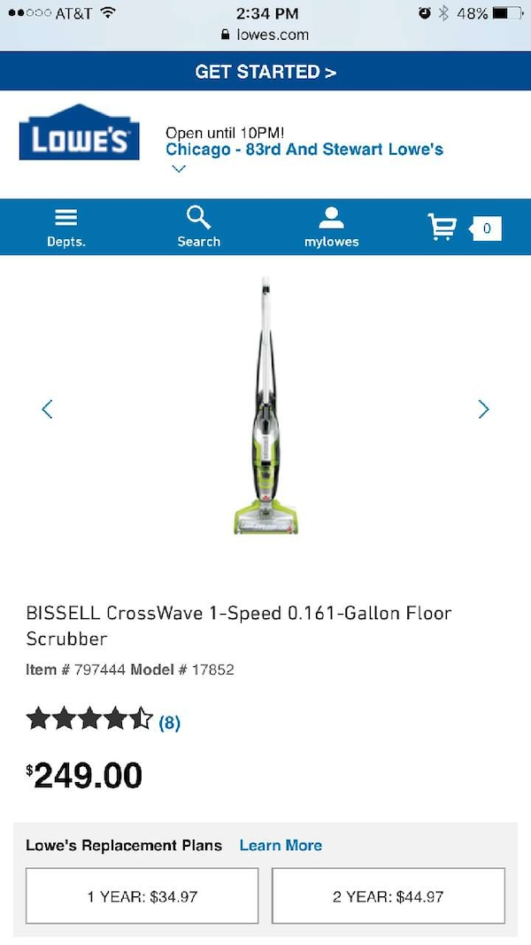 Used Bissell Crosswave 1 Speed 0161 Gallon Floor Scrubber For Sale