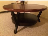 3 pcs coffee table, brown on top and black bottom, very nice! 1 coffee table and 2 matching end tables. Stafford, 22554
