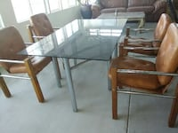 rectangular glass top table with four chairs dining set Vista, 92081