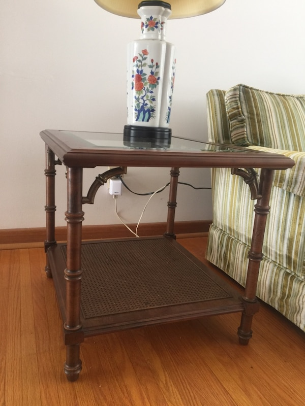 Side Table - solid wood with beveled glass top