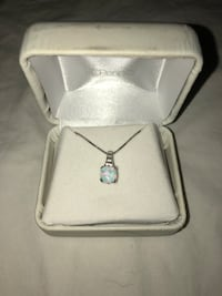 Opal & White Sapphire Sterling Silver Pendant Necklace