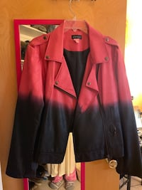 Pink and black jacket size 16 leather look like new