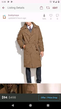 London Townes Trench coat 38R NWOT w/thin insulate Alexandria, 22304