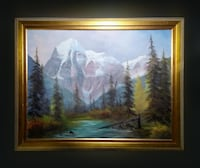 """35""""x29"""" Original SIGNED Oil Painting 1976 mount Robson Wooden Frame Toronto"""