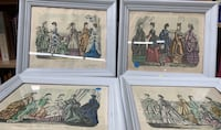 4 antique Godey's Fashions for 1870 all 4 prints in frames vintage Long Beach, 90813