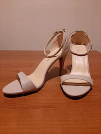 Nude patent ankle strap high heel sandals
