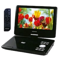 black Magnavok portable DVD player with remote