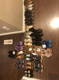 Toddler's assorted pairs of shoes