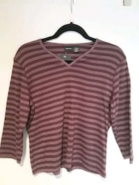 XL Wine stripe 3/4 sleeve NWT 368 mi