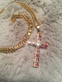 18k GPL Multicolored CZ Cross With Chain Necklace
