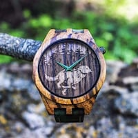 NEW Wolf in Forest Zebrawood Watch Silver Spring