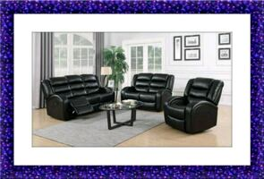 New black faux leather recliner sofa and loveseat