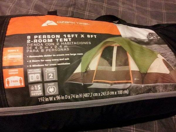ozark trail 8 person 16ft x 8ft 2 room tent case