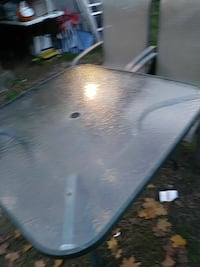 square grey metal frame clear glass top patio table