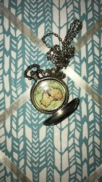 Vintage clock necklace Aurora, 60505