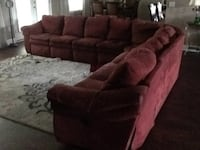 brown suede sectional couch with throw pillows Pace, 32571