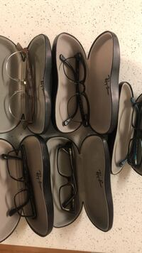 Five ray-ban eyeglasses with case