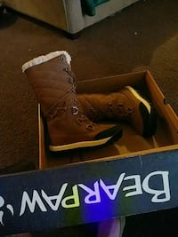 pair of hickory Bearpaw knee-high boots with box