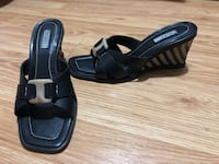 Pair of black leather open-toe wedge sandals Mississauga, L5R 3R7