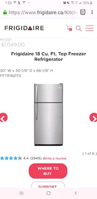 Brand New! Frigidaire 18 Cu.Ft Stainless Steel Ref Keswick, L4P