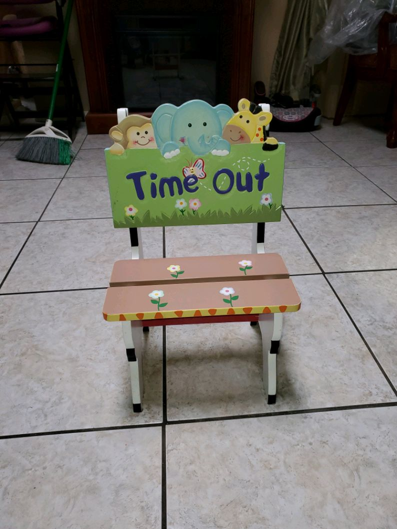 Photo Chair Time Out Hand Painted Wood NEW