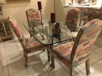 metal framed dining table with glass top table Boca Raton, 33496