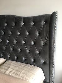 Brand new velour tufted gray bed. Selling as the colour doesn't go with the furniture. Queen size 542 km