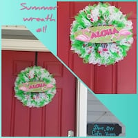 green and white Aloha mesh wreath collage Bixby, 74008