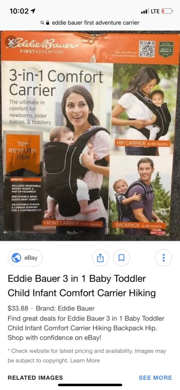 b6180373e99 Used Eddie Bauer baby carrier for sale in Gulfport - letgo