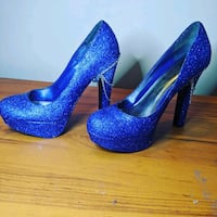 Diy Sparkle blue high heels