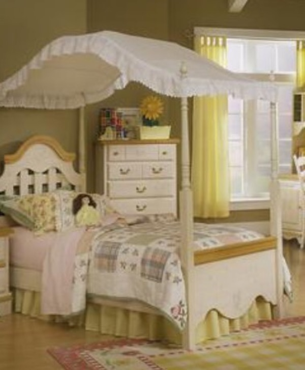 Used Kathy Ireland girls full size canopy bed bedroom set for sale ...