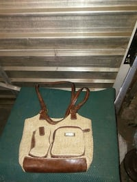 beige and brown leather handbag