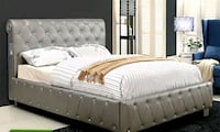 Queen Bed Frame, Silver Tufted Faux Leather San Clemente, 92673