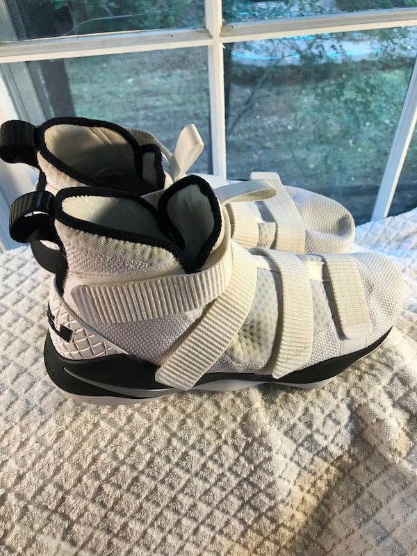 pair of black-and-white basketball shoes