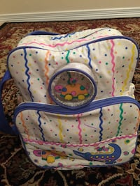 white, blue, and green floral backpack Aurora, 80017