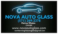 Nova Auto Glass business card Alexandria, 22310