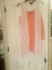 Beautiful white lace cardigan with cold shoulder blouse large