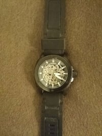 round black chronograph watch with black leather strap Waterloo, N2J 1K7